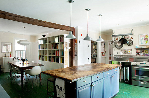 Kitchen with weathered green floors
