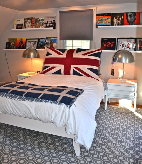 Large Union Jack pillow in the bedroom offers vivid contrast