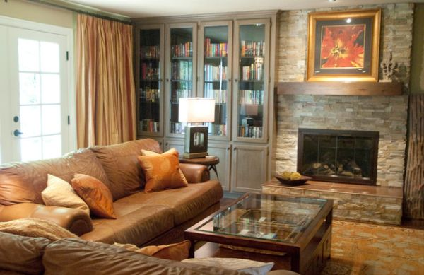 Large built-in bookcase cabinets for the living room