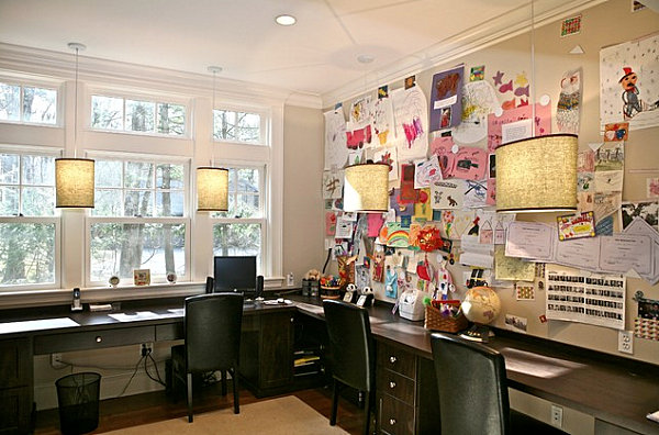 Large bulletin board in a home office