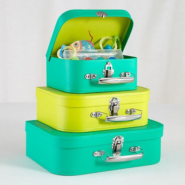 Lime green and turquoise suitcase storage