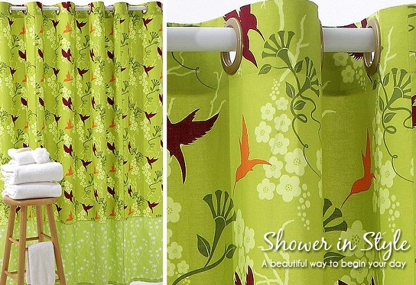Lime green bird print fabric shower curtain DIY