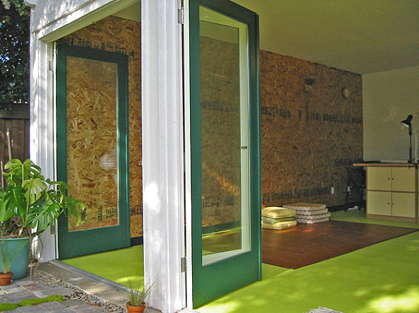 Lime green concrete floor