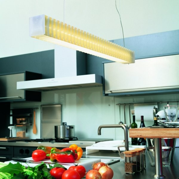 Lisca H2 Suspension Lamp in Yellow in Kitchen