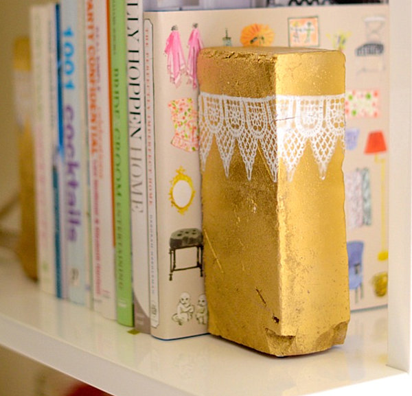 Metallic brick bookend DIY project