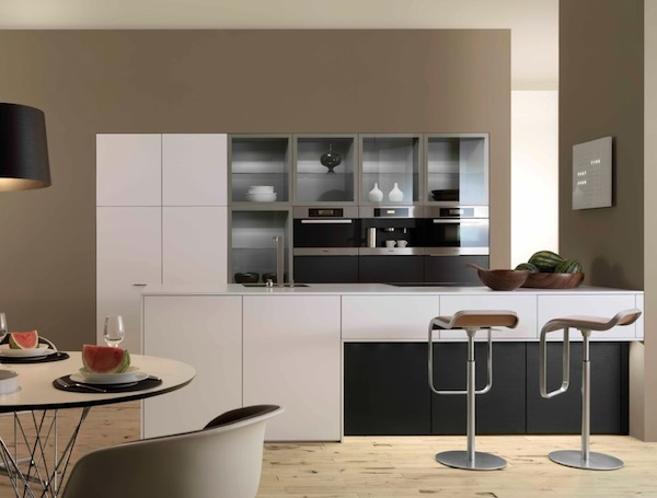 Minimalist modern kitchen with glass cabinets