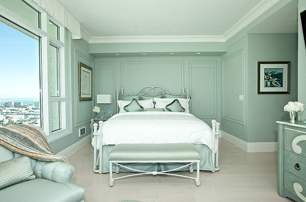Mint green penthouse bedroom