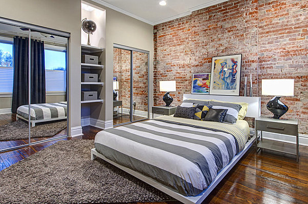 modern spaces with mirrored closet doors 11891 | mirrored closets in a modern industrial bedroom