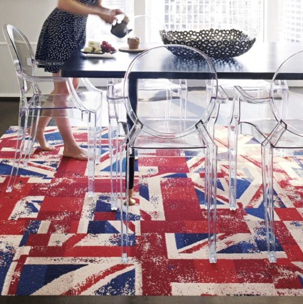 Modern art presents the Union Jack in a flashy fashion for the dining room floor