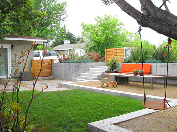 modern backyard with designated sections