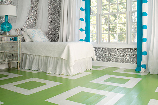 Modern bedroom floor with squares