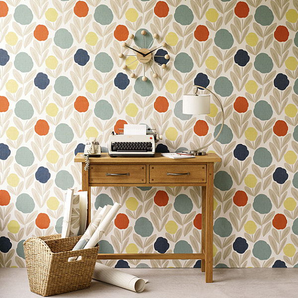 Modern floral wallpaper by Laura Ashley