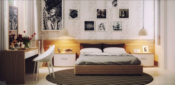 Modern furnishings and chic artwork for the girls' bedroom
