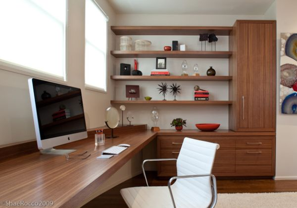 View in gallery Modern home office with corner shelves that make a  beautiful display