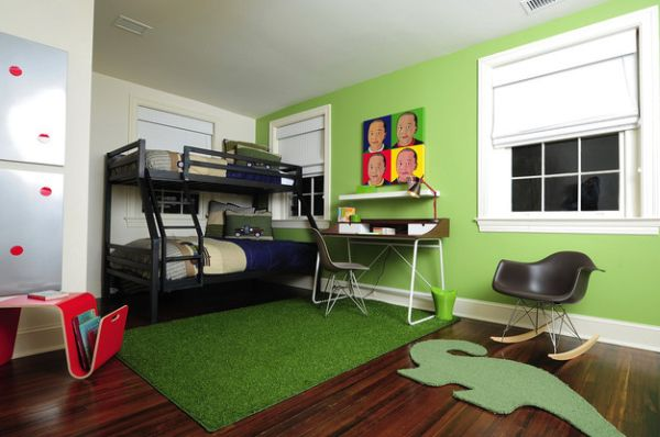 Modern kids' bedroom sports bunk beds and a unique desk