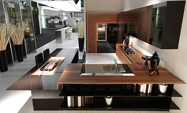 Modern kitchen with interesting decor