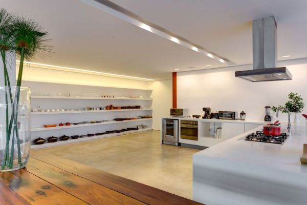 Modern kitchen with interesting open shelves on one side