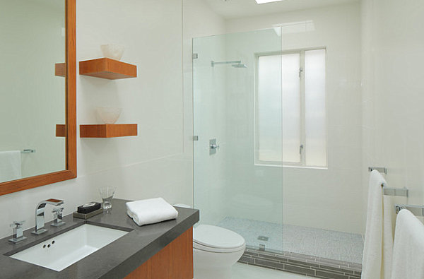 Modern ledge shelving in a small bathroom