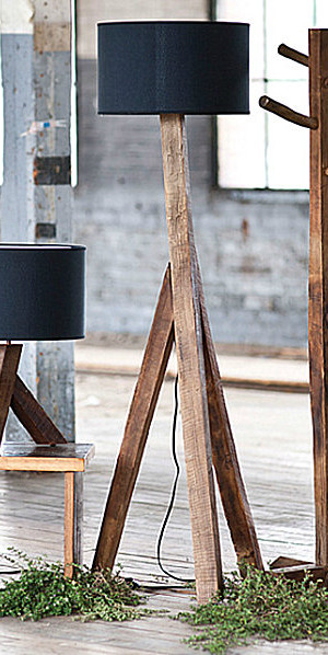 Modern reclaimed wood lamps
