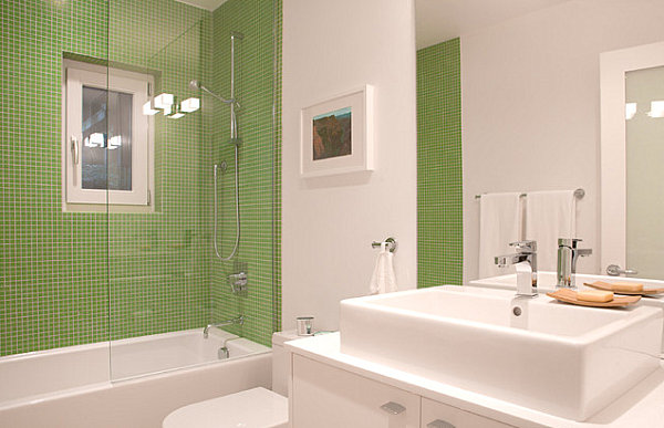 Brilliant White Bathroom With Green Accents  Bathroom Decorating Ideas