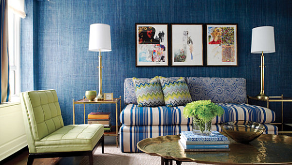 Monaco blue living room Shades of Blue for a Powerful Interior