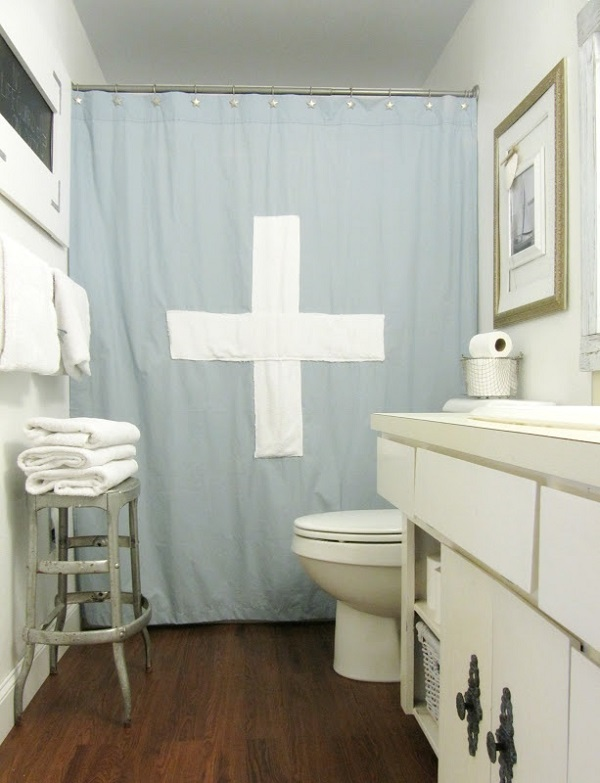 Nautical lifeguard shower curtain Shower Curtain DIYs to Revamp Your Bathroom
