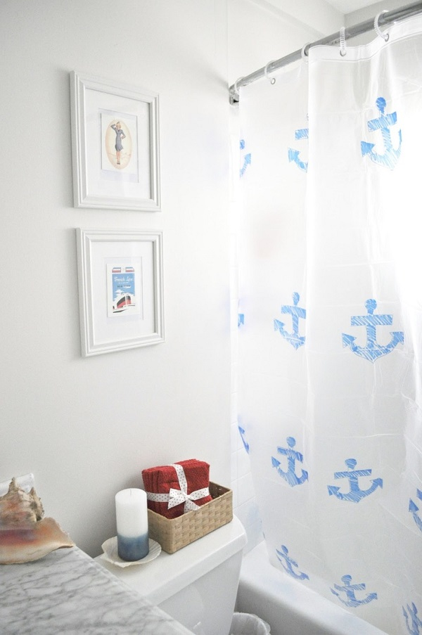 Nautical turquoise and white anchor print shower curtain Shower Curtain DIYs to Revamp Your Bathroom