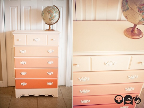 Orange ombre dresser DIY 15 Eye Catching Dresser DIYs