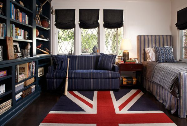 Organized kids' room in dark blue with a Union Jack rug that stands out
