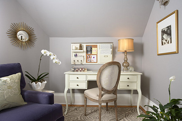 Organized wall space in an elegant home office