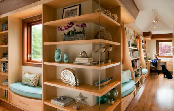 Outside corner open shelving unit looks stunning!