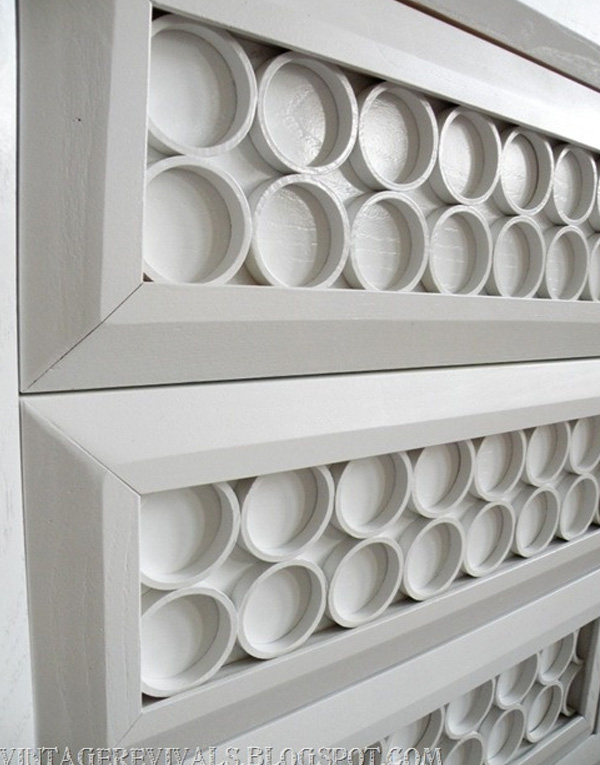 PVC pipe entertainment console close-up