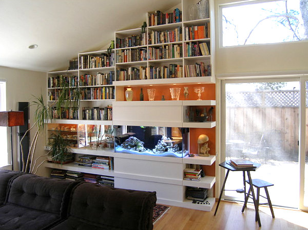 Painted bookshelves in a modern interior