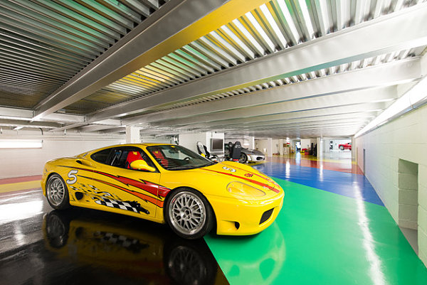 Painted concrete floor in a contemporary garage