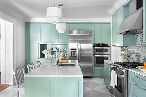 Painted floors in a modern kitchen