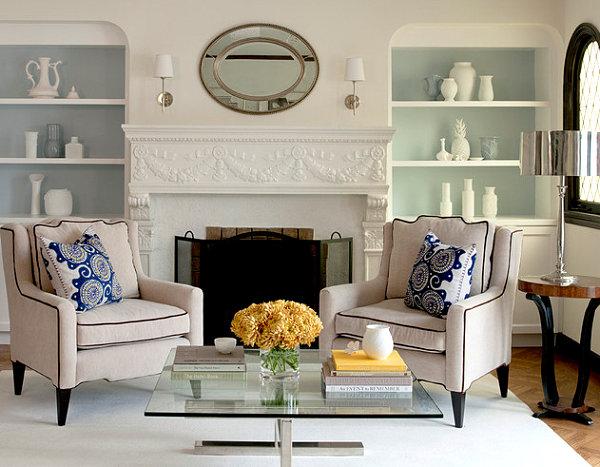 Pale painted bookshelf interiors