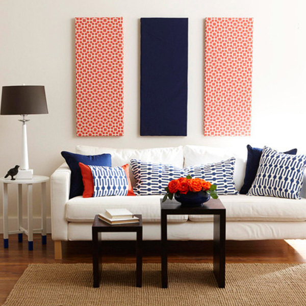 20 easy diy art projects for your walls patterned navy blue and red fabric panel wall art solutioingenieria Gallery