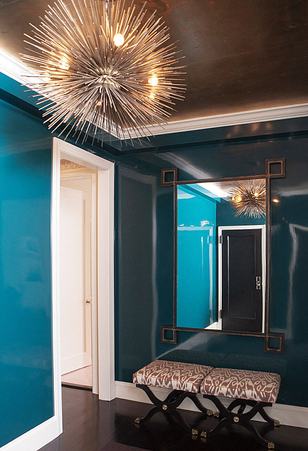 Peacock blue entryway