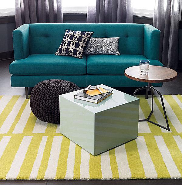 Peacock blue sofa