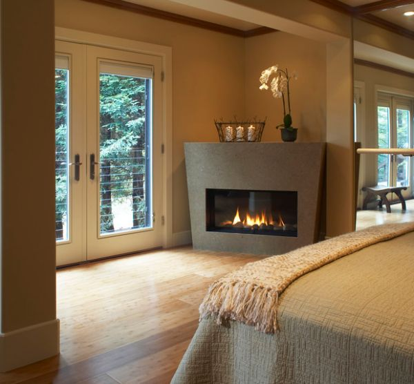 Perfect way to add a glass front fireplace to an existing room without too many changes