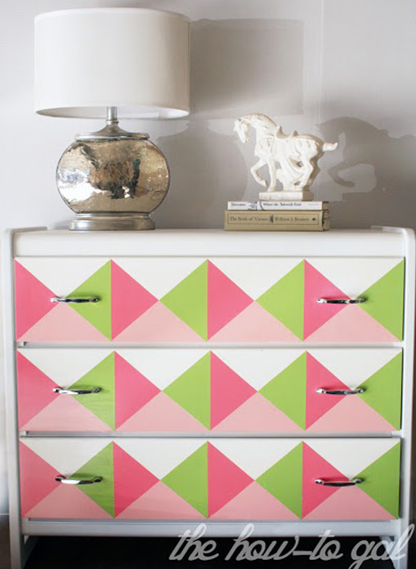Pink and green geometric dresser DIY