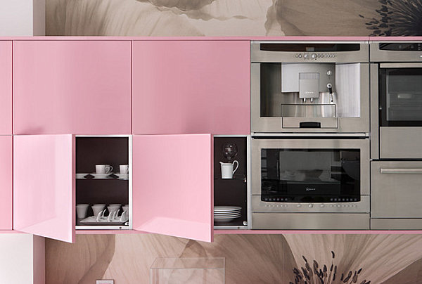 View in gallery Pink lacquered cabinets