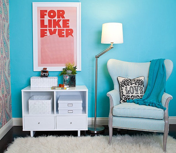 Playful turquoise blue bedroom