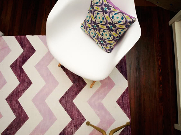 Purple chevron painted rug