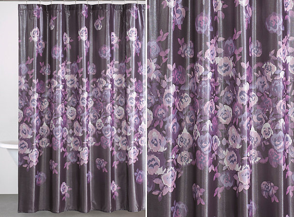 Purple floral shower curtain from Donna Karan