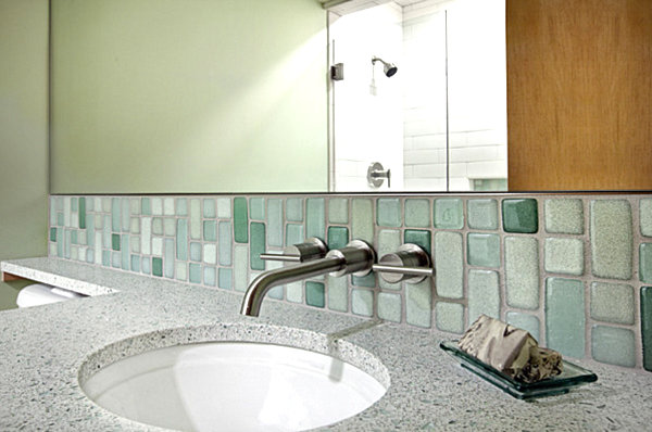 Recycled glass tiles in a modern bathroom