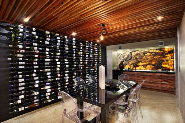 Recycled timber roof and backlit onyx grace this beautiful wine cellar