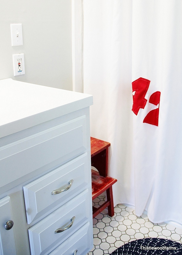 Red and white number shower curtain