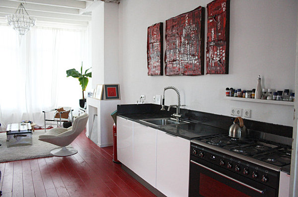 View In Gallery Red Painted Kitchen Floor