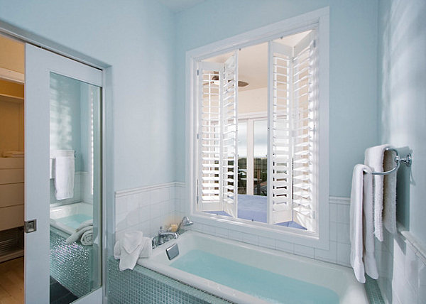 Refreshing ice blue bathroom
